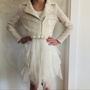 Beautees Uneven Tulle Skirt Dress w Moto Jacket 6
